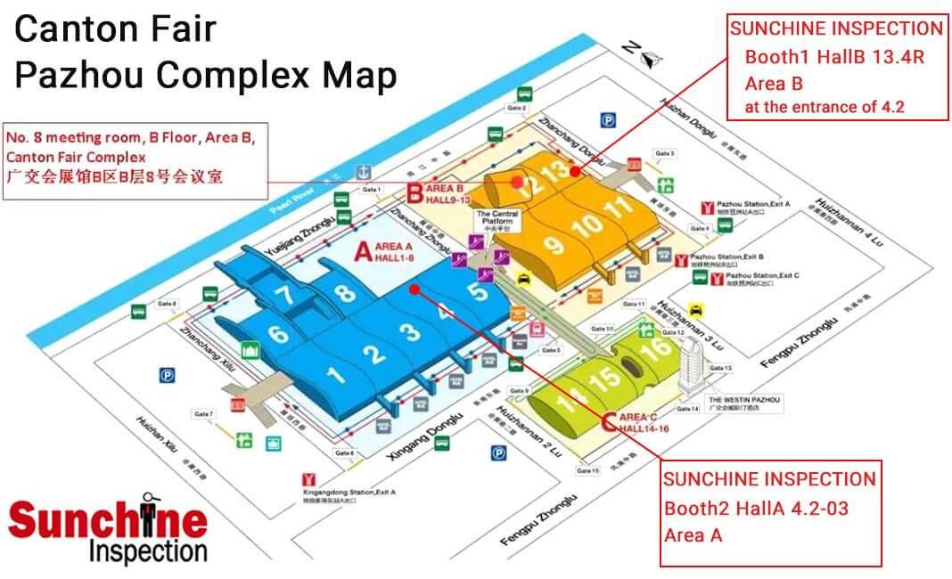 Sunchine Booths Location On Canton Fair Complex Map