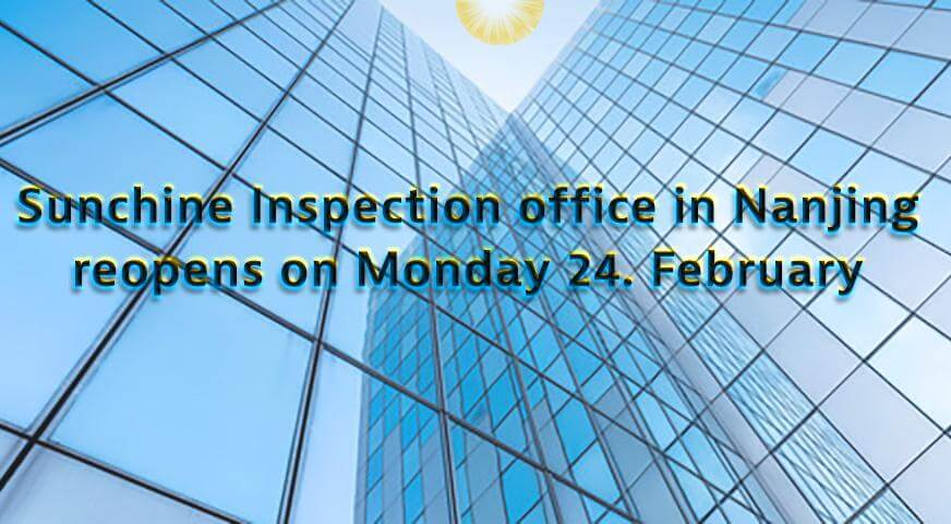 Sunchine Inspection Offices In Nanjing Will Reopen Tomorrow